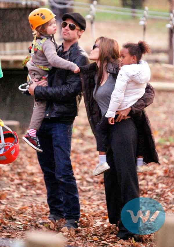 Jolie with her family at Holidays