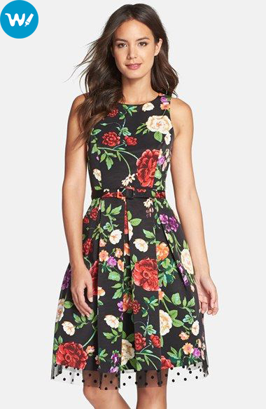 Black Red Floral Dresses