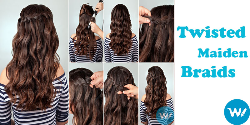 Twisted Maiden Braids Curled hair