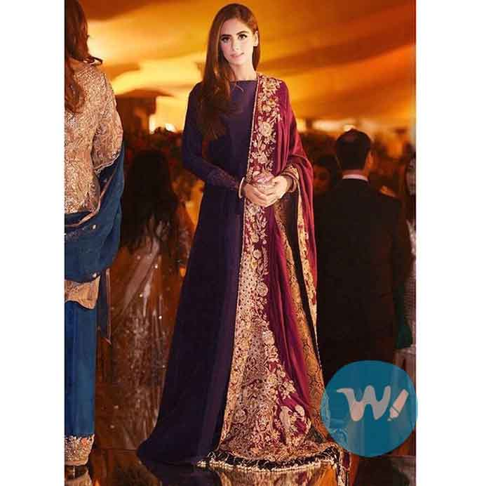 Peshwas with an heavily embroidered shawl-fashion trends
