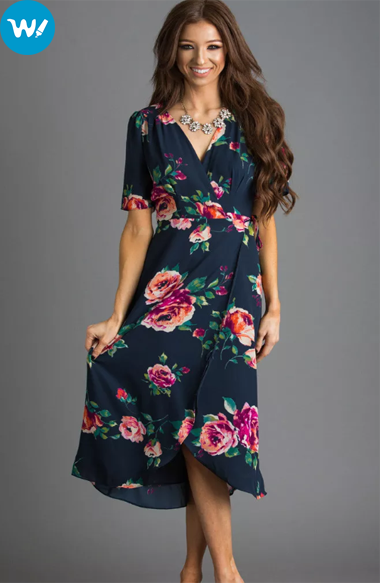 navy wrap floral dresses with sleeves