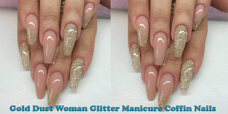 coffin nails Gold Dust Woman Glitter Manicure Coffin Nails