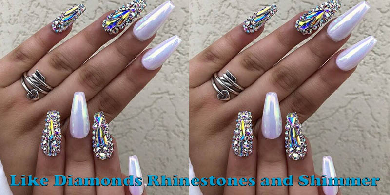 coffin nails Like Diamonds Rhinestones and Shimmer
