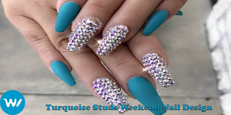 coffin nails Turquoise Studs Weekend Nail Design
