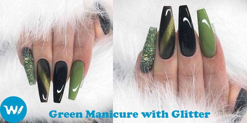 nails coffin Green Manicure with Glitter