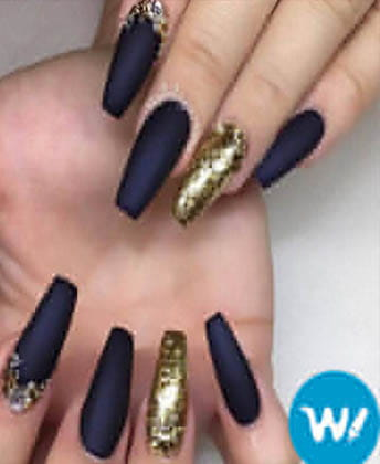 short coffin acrylic nails dark purple  nail and manicure